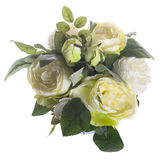 Floral composition with white peonies and green roses Stock Images