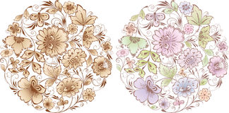 Floral compositions. Vector floral compositions of the decorative flowers Royalty Free Stock Photo