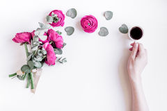 Floral concept with pink flowers on white background top view mock-up Stock Photography
