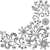 Floral contour background. Floral pattern, black symbolical contour flowers on white background Stock Images