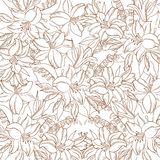 Floral contour pattern, lily and mine Royalty Free Stock Photo