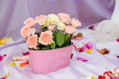 Floral cookies. Artificial roses in a vase Royalty Free Stock Photos