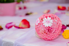 Floral cookies. Round pink floral decoration on the table Royalty Free Stock Images