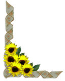 Floral Corner Design sunflowers ribbons. Image and Illustration composition for wedding invitation, Mother's Day or Easter background, border or frame with stock illustration