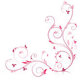 Floral corner in pink color. With swirls decoration elements Royalty Free Stock Photography
