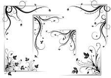 Floral corner set. Black vintage floral corner set,  illustration Royalty Free Stock Photo