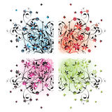 Floral corners. Four floral corners in different colors Royalty Free Stock Photos