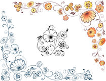 Floral corners. Vector image of the decorative floral corners Royalty Free Stock Images