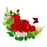 Floral crescent  frame with red  Roses  and butterfly vintage  festive  background vector illustration editable. Hand draw Royalty Free Stock Photography