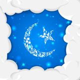 Floral crescent moon of Eid Stock Image