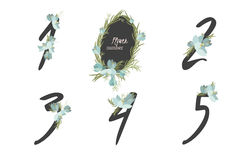 Floral crocus collection numbers in vintage color. One, two, three, four, five - signs vector Stock Photos