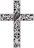 Floral cross. Christian cross made of floral elements Stock Photo