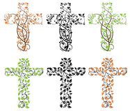 Floral cross. Multiple coloured floral and tree crosses Stock Photo