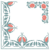 Floral cross-stitch embroidery. Design elements for cross-stitch embroidery. Blue and red floral ornate. Vector illustration Royalty Free Stock Photography