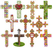 Floral crosses set isolated Royalty Free Stock Images