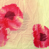 Floral crumpled fabric with red poppies . Royalty Free Stock Images