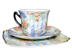 Floral Cup saucer and Plate Stock Photos