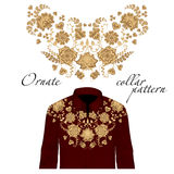 Floral curl neck embroidery for blouses. Vector, illustration. Decoration for clothes. Front collar design. Royalty Free Stock Photography