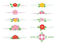 Floral and curly dividers with flowers dahlias and green leaves - decorative vector set stock illustration
