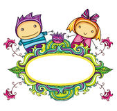 Floral curly frame with cute boy and girl (floral stock illustration
