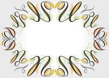 Floral curve elements. Vector file of floral curve elements frame stock illustration