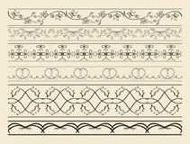 Floral and curved ornamental borders - set of vector decorations Royalty Free Stock Image