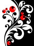 Floral curves and berries. Stylized floral pattern with curves and berries on a black background Stock Photo