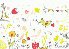 Floral cute banner with flowers, birds, hearts Royalty Free Stock Photos