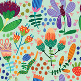 Floral cute seamless pattern. Stock Photos