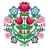 Floral cute vector pattern from Poland, folk art vector design, Zalipie decorative pattern with roses and leaves - greeting card,. Retro Polish folk design vector illustration