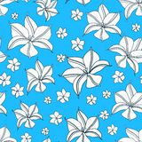 Floral Cyan Blue Seamless Pattern Stock Photo