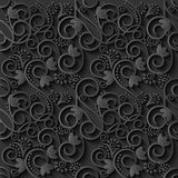 Floral 3d Black Paper Pattern Background. Vector illustration. EPS10 Stock Photos