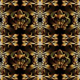 Floral 3d damask seamless pattern. Vector vintage black backgrou. Nd. Hand drawn gold flowers, leaves, swirls, curves,  interesting damask ornament. Surface Royalty Free Stock Images