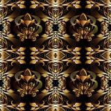 Floral 3d damask seamless pattern. Vector vintage black backgrou. Nd. Hand drawn gold flowers, leaves, swirls, curves, interesting damask ornament. Surface royalty free illustration