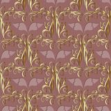 Floral 3d damask seamless pattern. Vector vintage pink backgroun. D. Hand drawn gold flowers, leaves, swirls, curves,  interesting damask ornaments. Surface Royalty Free Stock Image
