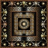 Floral 3d greek panel pattern. Vector ornate abstract background. Flourish vintage frame. Flowers, swirls, circles, mandalas, squares. Greek key ornaments Vector Illustration