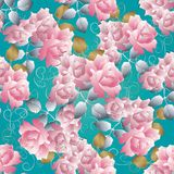Floral 3d roses seamless pattern. Vector blue background. Roses. Wallpaper. Vintage pink roses flowers, gold silver leaves, swirl lines and flourish line art royalty free illustration