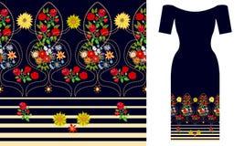 Floral damask σύνθεση Σχέδιο φορεμάτων κόμματος ελεύθερη απεικόνιση δικαιώματος