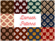 Floral damask flowery tracery ornament patterns Stock Photo