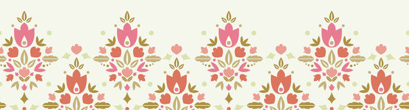 Floral damask horizontal seamless pattern. Vector floral damask horizontal seamless pattern background ornament with abstract floral elements vector illustration