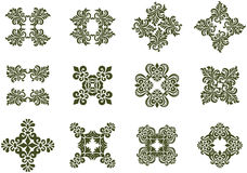 Floral Damask Icons Stock Photo