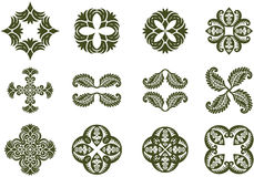 Floral Damask Icons Stock Photos