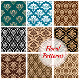 Floral damask ornament vector seamless pattern set Royalty Free Stock Photography