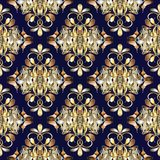 Floral damask seamless pattern. Dark blue vintage bavkground. Go. Ld hand drawn paisley flowers, swirlsm leaves  and beautiful modern flourish gold ornaments Royalty Free Stock Photography