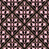Floral damask seamless pattern. Vector black background with 3d. Pink baroque flowers, scrolls, lines, swirls, flourish frames. Antique ornaments in baroque royalty free illustration