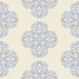 Floral damask seamless pattern. Vintage seamless blue colored baroque wallpaper. Stock Photos