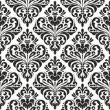 Floral damask wallpaper. Black and white seamless damask wallpaper pattern Royalty Free Stock Photo