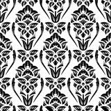 Floral damask wallpaper. Black and white seamless damask wallpaper pattern Royalty Free Stock Image