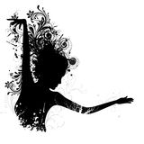 Floral Dancing Lady. Illustration of dancing floral lady on white background Stock Photos