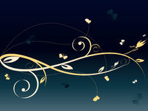 Floral dark abstract background. With lots of butterflies royalty free illustration